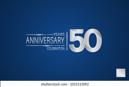 50 years anniversary logo with elegance silver color isolated on blue background for celebration event