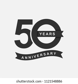 50 Years Anniversary Logo Icon Template, Anniversary lettering with black color. Vector EPS 10.