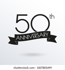 50 years anniversary logo with ribbon. 50th anniversary celebration label. Design element for birthday, invitation, wedding jubilee. Vector illustration.