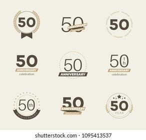 50 years anniversary logo set. 50th anniversary icons. Vector illustration.