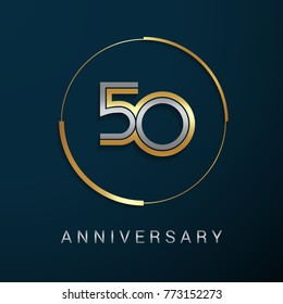 50 Years Anniversary Logotype with  Gold and Silver Multi Linear Number in a Golden Circle , Isolated on Dark Background