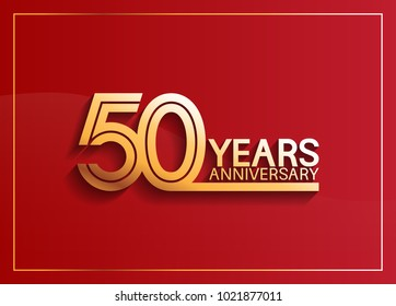 50 years anniversary logotype with golden multiple line style on red background for celebration