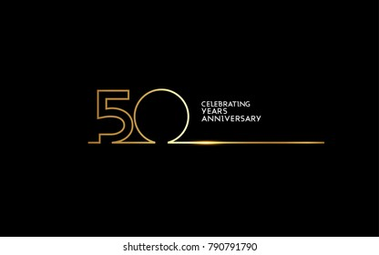 50 Years Anniversary logotype with golden colored font numbers made of one connected line, isolated on black background for company celebration event, birthday