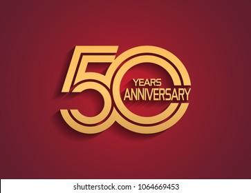 50 years anniversary logotype with linked multiple line golden color isolated on red background for celebration event