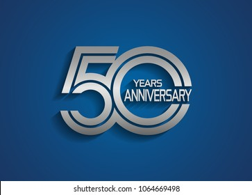 50 years anniversary logotype with linked multiple line silver color isolated on blue background for celebration event