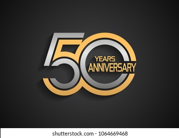 50 years anniversary logotype with multiple line silver and golden color isolated on black background for celebration event