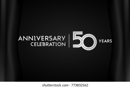 50 Years Anniversary Logotype with   Silver Multi Linear Number Isolated on Dark Background
