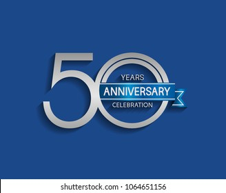 50 years anniversary logotype with  simple silver color and blue ribbon isolated on blue background for celebration event
