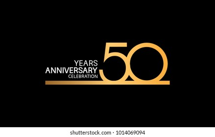 50 years anniversary logotype with single line golden and silver color for celebration