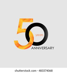 50 Years Anniversary with Low Poly Design, colored with geometric style