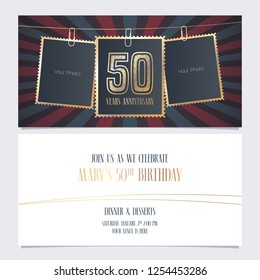 50 years anniversary party invitation vector template. Illustration with photo frames for 50th birthday card, invite