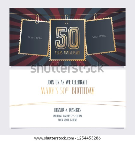 50 Years Anniversary Party Invitation Vector Template Illustration With Photo Frames For 50th Birthday Card