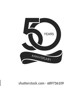 50 years anniversary pictogram vector icon, 50 years birthday logo label, black and white stamp isolated