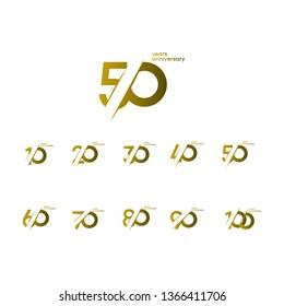 50 Years Anniversary Set 10 20 30 40 60 70 80 90 100 Vector Template Design Illustration