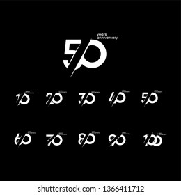 50 Years Anniversary Set 10 20 30 40 60 70 80 90 100 Vector Template Design Illustration