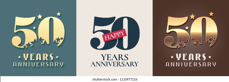 50 years anniversary set of vector icon, symbol, logo. Graphic design elements for 50th anniversary birthday card