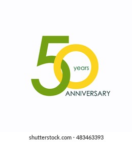 50 years anniversary, signs, symbols, which is yellow and green with flat design style