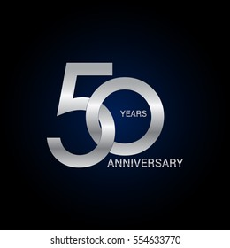 50 years anniversary silver, signs, symbols, simple logo design isolated on dark background