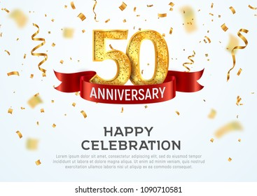 50 Years Anniversary Vector Banner Template Fifty Year Jubilee With Red Ribbon And Confetti On