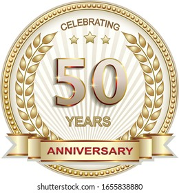 50 years anniversary vector design background for celebration, congratulation and birthday card