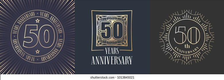 50 years anniversary vector icon,  logo set. Graphic round gold color design elements for 50th anniversary banner