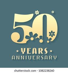 50 years anniversary vector icon, symbol, logo. Graphic design element for 50th anniversary birthday card or invitation