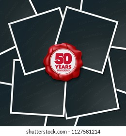 50 years anniversary vector icon, logo. Design element, greeting card with collage of photo frames and red wax stamp for 50th anniversary