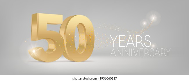 50 years anniversary vector icon, logo. Isolated graphic design with 3D number for 50th anniversary birthday card or symbol