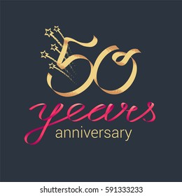 50 years anniversary vector icon,  logo. Graphic design element with lettering and red ribbon for decoration for 50th anniversary ceremony