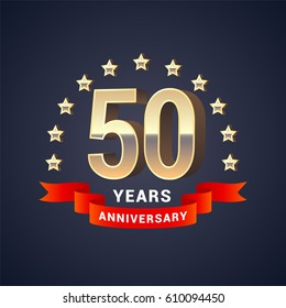 50 years anniversary vector icon,  logo. Graphic design element with  golden 3D numbers for 50th anniversary decoration