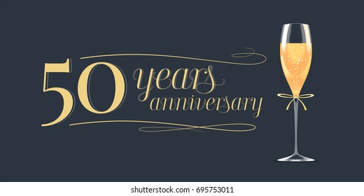 50 years anniversary vector icon,  logo. Graphic design element, banner with golden lettering and glass of champagne for 50th anniversary background