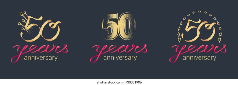 50 years anniversary vector icon,  logo set. Graphic design element with lettering and red ribbon for  celebration of 50th anniversary