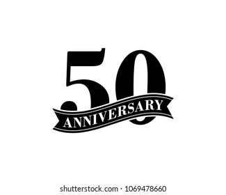 50 Years Anniversary Vector Logo Design Template. 50th Birthday Celebration.