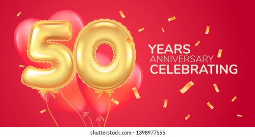 50 years anniversary vector logo, icon. Template banner with heart  air hot balloon for 50th anniversary greeting card