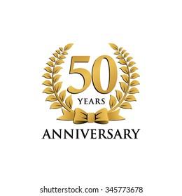 50 years anniversary wreath ribbon logo