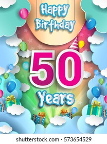 50 Years Birthday Celebration Design for greeting cards and poster, with clouds and gift box, balloons. design template for birthday celebration.
