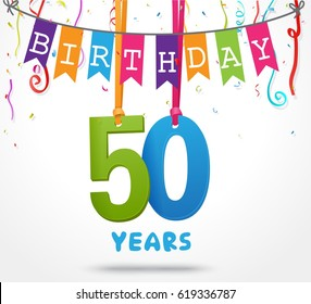 50 Years Birthday Celebration greeting card Design