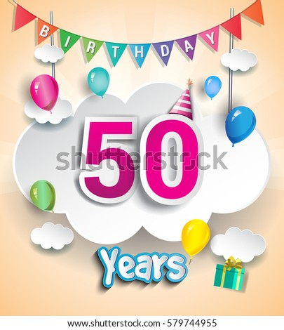 50 Years Birthday Design For Greeting Cards And Poster With Clouds Gift Box