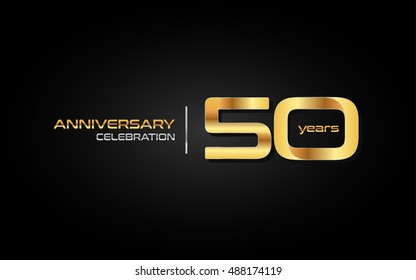 50 years gold anniversary celebration logo, isolated on dark background