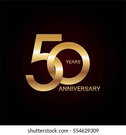 50 years gold anniversary celebration simple logo, isolated on dark background