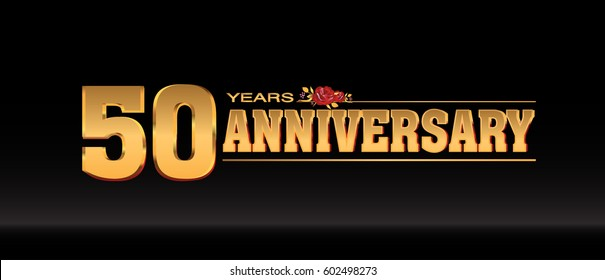 50 Years gold anniversary celebration logo, anniversary for celebration, birthday, wedding and party