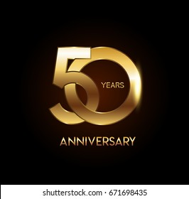 50 years gold anniversary celebration overlapping number logo, isolated on dark background
