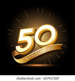 50 years golden anniversary logo celebration with firework and ribbon
