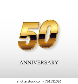 50 Years Golden Anniversary Vector Logo Design Isolated on White Background