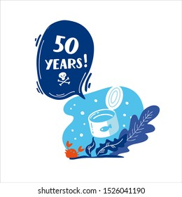 50 years. How long decompos tin in nature. Stop plastic pollution! Vector flat illustration for World Environment Day. Plastic floats in the ocean. Harm to nature. Elements, clip art