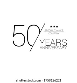 50 years old celebrating classic logo. happy anniversary 50 th. Greetings celebrates.
