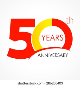 50 years old celebrating classic logo. Colored happy anniversary 50 th template numbers. Greetings celebrates. Traditional framed digits of ages. Special prize, % off, O or 0. Card's or label's idea.