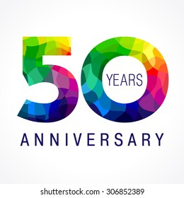 50 years old celebrating colored logo. Anniversary 50 th vector template numbers. Happy birthday greetings celebrates. Stained-glass digits of jubilee ages. Mosaic pattern figures in various colors.