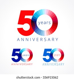 50 years old celebrating colored logo. Anniversary numbers 50 th. Shining congratulating logotype. Greetings celebrates set red, blue, white colors. Stained digit  fifty, 0, % off isolated template.
