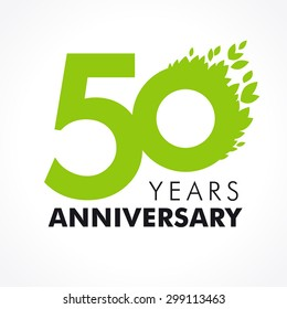 50 years old celebrating colored logo stock vector royalty free 50 years old celebrating green flying leaves logo anniversary year of 50 th vector template m4hsunfo